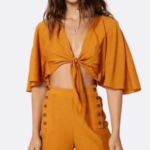Anthro The East Order Amelie Tie Front Top Shirt